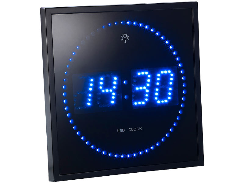 lunartec led funk wanduhr mit sekunden lauflicht durch blaue leds. Black Bedroom Furniture Sets. Home Design Ideas