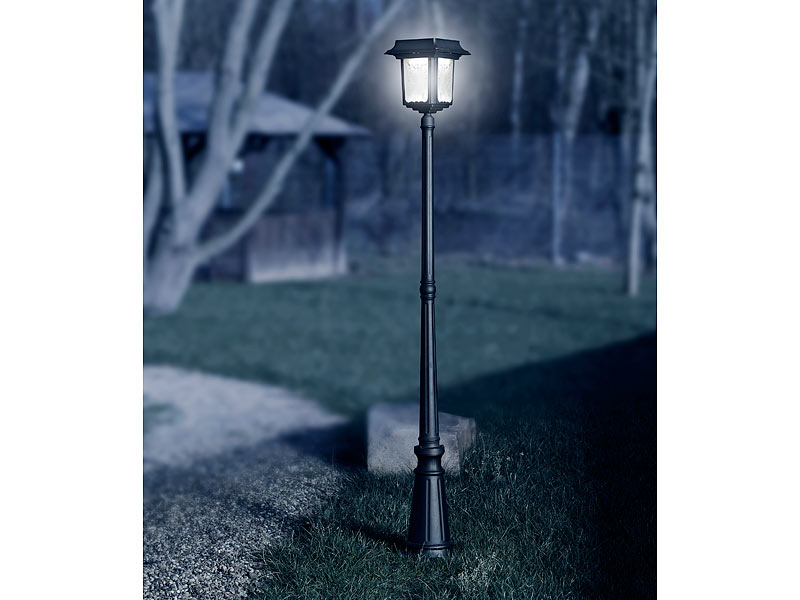 lunartec led gartenlaterne mit 4 watt solarpanel 8 leds 70 lumen ip44. Black Bedroom Furniture Sets. Home Design Ideas