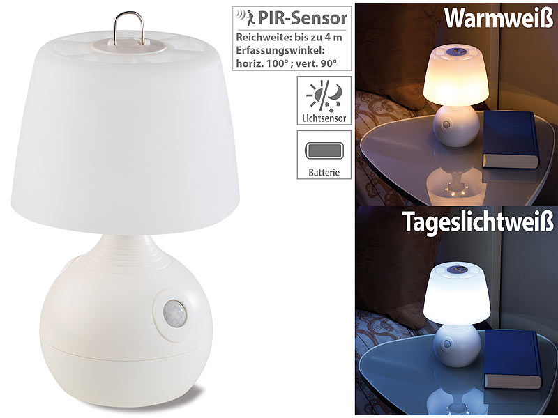 lunartec led tischlampe pir licht sensor warmwei tageslichtwei 30 lm. Black Bedroom Furniture Sets. Home Design Ideas