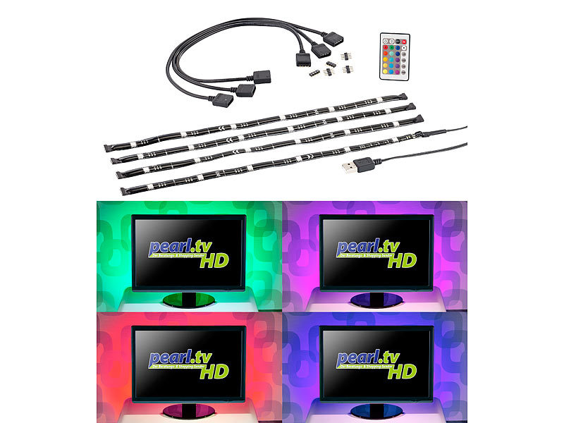 lunartec tv hintergrundbeleuchtung mit 4 rgb leisten f r 117 177 cm usb. Black Bedroom Furniture Sets. Home Design Ideas