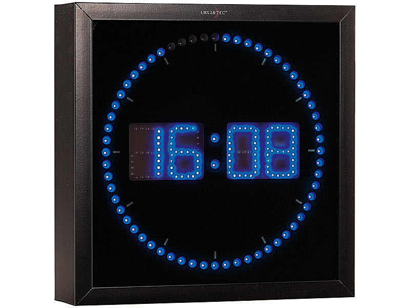 lunartec led wanduhr mit sekunden lauflicht aus blauen leds. Black Bedroom Furniture Sets. Home Design Ideas