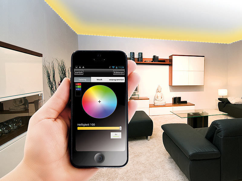 lunartec rgb led streifen lc 500n mit netzteil smartphone controller innen. Black Bedroom Furniture Sets. Home Design Ideas