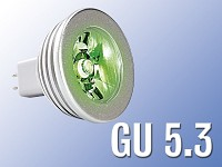 Lunartec High-Power LED-Strahler, 3W LED, grün, GU 5.3 (12V)