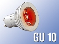 Lunartec High-Power LED-Strahler, 3W LED, rot, GU 10 (230V)