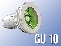 Lunartec High-Power LED-Strahler, 3W LED, grün, GU 10 (230V)