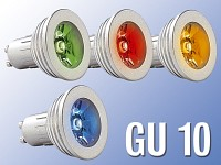 Lunartec High-Power LED-Strahler, 3W LED, 4-Farben Pack, GU 10 (230V)
