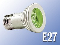 Lunartec High-Power LED-Strahler, 3W LED, grün, E27 (230V)