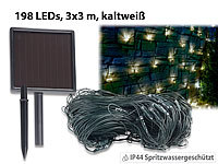 Lunartec Solar-LED-Lichternetz, 198 LEDs, kaltweiß, 3 x 3 m, IP44; LED-Solar-Lichterketten (warmweiß) LED-Solar-Lichterketten (warmweiß) LED-Solar-Lichterketten (warmweiß) LED-Solar-Lichterketten (warmweiß)