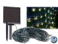 Lunartec Solar-LED-Lichternetz, 144 LEDs, weiß, 2 x 2 m, IP44; LED-Solar-Lichterketten (warmweiß) LED-Solar-Lichterketten (warmweiß) LED-Solar-Lichterketten (warmweiß)