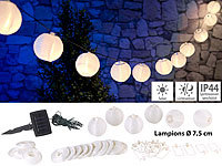 Lunartec Solar-LED-Lichterkette, warmweiß, mit 20 weißen Lampions, 3,8 m, IP44; LED-Solar-Lichterketten (warmweiß) LED-Solar-Lichterketten (warmweiß) LED-Solar-Lichterketten (warmweiß) LED-Solar-Lichterketten (warmweiß)