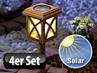 lunartec teakholz outdoor solarlampe 4er set. Black Bedroom Furniture Sets. Home Design Ideas