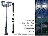 Lunartec 2-flammige Solar-LED-Laterne,140 lm, 2x 4-W-Solarpanel (refurbished)