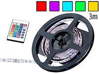 Lunartec Multicolor-LED-Strip mit 90 SMD-LEDs, Fernbedienung, 3m