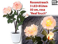 "Lunartec LED-Rosenstrauch ""Real Touch"" mit 3 LED-Blüten, 50 cm, rosa"
