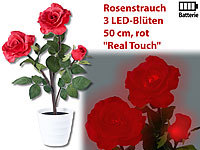 "Lunartec LED-Rosenstrauch ""Real Touch"" mit 3 LED-Blüten, 50 cm, rot"