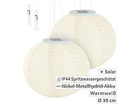 Lunartec Solar-LED-Lampion mit Dämmerungs-Sensor, IP44, warmweiß, 30 cm Ø