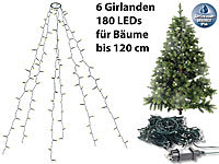Lunartec Weihnachtsbaum-Überwurf-Lichterkette mit 6 Girlanden & 180 LEDs, IP44; LED-Solar-Lichterketten (warmweiß) LED-Solar-Lichterketten (warmweiß) LED-Solar-Lichterketten (warmweiß)