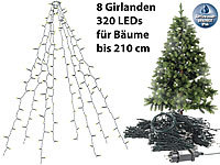 Lunartec Weihnachtsbaum-Überwurf-Lichterkette mit 8 Girlanden & 320 LEDs, IP44; LED-Solar-Lichterketten (warmweiß) LED-Solar-Lichterketten (warmweiß) LED-Solar-Lichterketten (warmweiß)